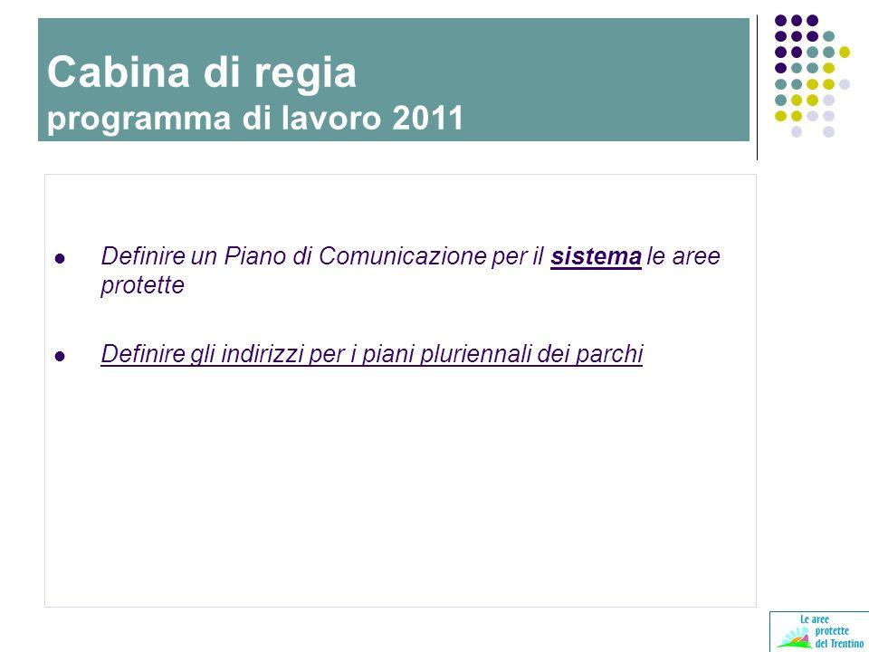Definire un Piano di Comunicazione per il sistema le aree protette Definire gli indirizzi per i piani pluriennali dei parchi Cabina di regia programma di lavoro 2011