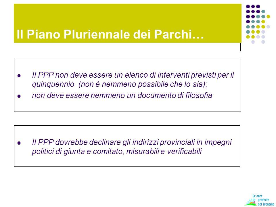 Il Piano Pluriennale dei Parchi… Il PPP non deve essere un elenco di interventi previsti per il quinquennio (non è nemmeno possibile che lo sia); non