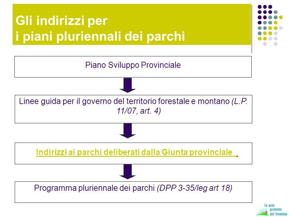 Gli indirizzi per i piani pluriennali dei parchi Piano Sviluppo Provinciale Linee guida per il governo del territorio forestale e montano (L.P. 11/07,