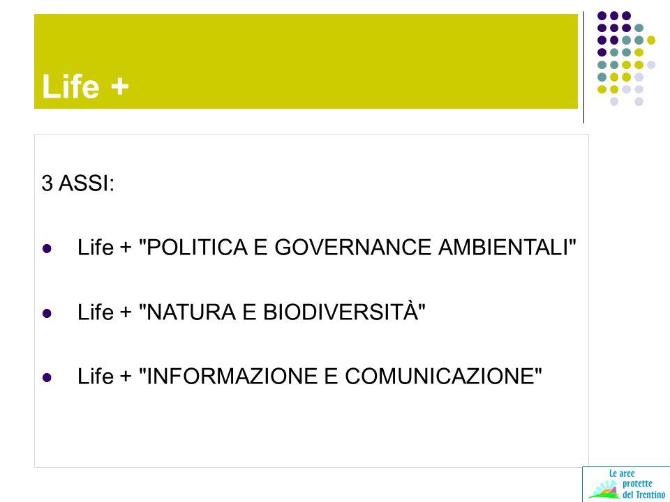 3 ASSI: Life + POLITICA E GOVERNANCE AMBIENTALI Life + NATURA E BIODIVERSITÀ Life + INFORMAZIONE E COMUNICAZIONE Life +