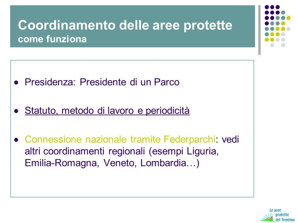 Presidenza: Presidente di un Parco Statuto, metodo di lavoro e periodicità Connessione nazionale tramite Federparchi: vedi altri coordinamenti regionali (esempi Liguria, Emilia-Romagna, Veneto, Lombardia…) Coordinamento delle aree protette come funziona