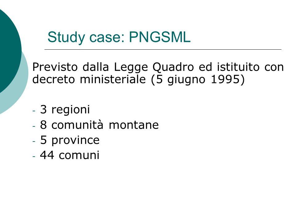Study case: PNGSML Previsto dalla Legge Quadro ed istituito con decreto ministeriale (5 giugno 1995) - 3 regioni - 8 comunità montane - 5 province - 44 comuni