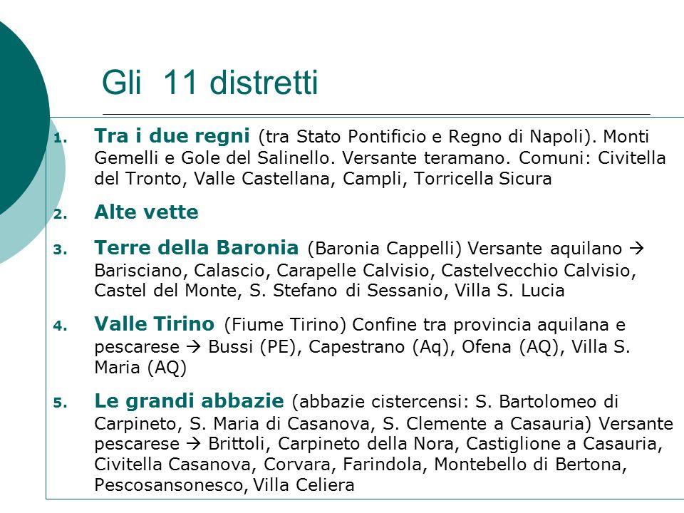 Gli 11 distretti 1. Tra i due regni (tra Stato Pontificio e Regno di Napoli).