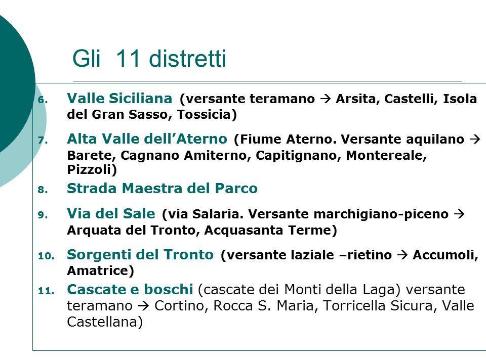 Il distretto della strada maestra  8 COMUNI: L'Aquila; Campotosto (AQ); Capitignano (AQ);Crognaleto (TE); Fano Adriano (TE); Montorio al Vomano (TE); Pietracamela (TE); Pizzoli (AQ)  2 COMUNITA' MONTANE: Del Gran Sasso e Amiternina  2 PROVINCE: L'aquila; Teramo
