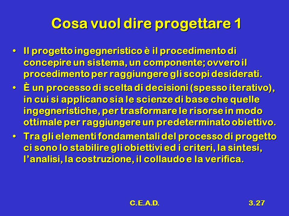 C.E.A.D.3.27 Cosa vuol dire progettare 1 Il progetto ingegneristico è il procedimento di concepire un sistema, un componente; ovvero il procedimento per raggiungere gli scopi desiderati.Il progetto ingegneristico è il procedimento di concepire un sistema, un componente; ovvero il procedimento per raggiungere gli scopi desiderati.