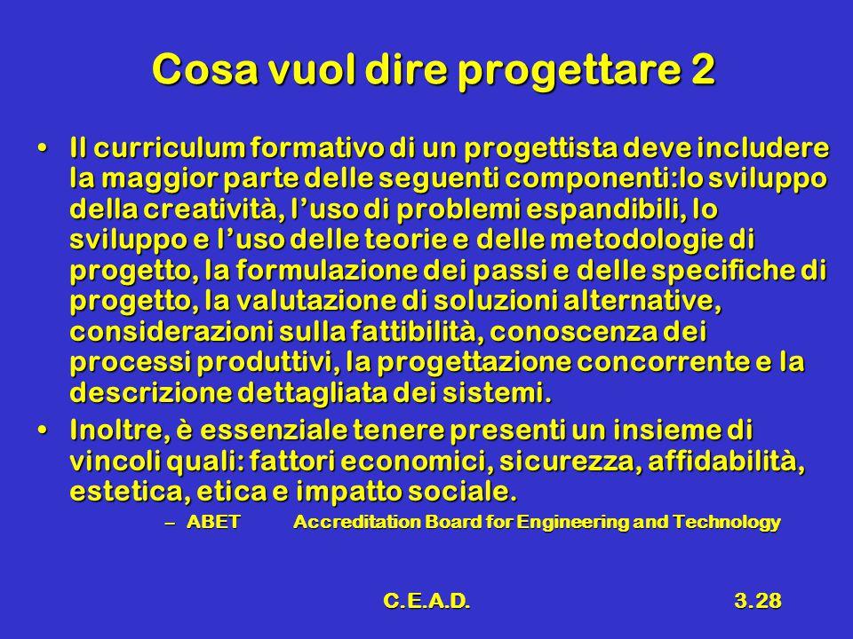 C.E.A.D.3.28 Cosa vuol dire progettare 2 Il curriculum formativo di un progettista deve includere la maggior parte delle seguenti componenti:lo svilup
