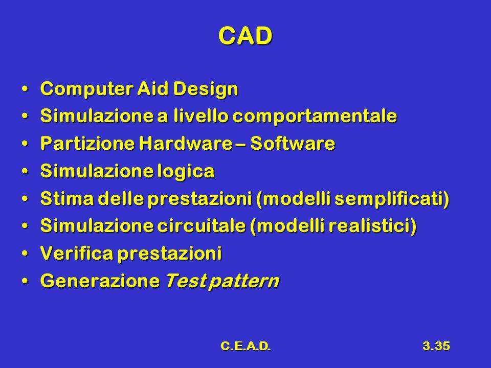 C.E.A.D.3.35 CAD Computer Aid DesignComputer Aid Design Simulazione a livello comportamentaleSimulazione a livello comportamentale Partizione Hardware