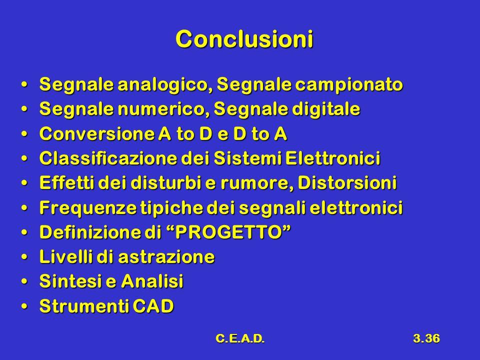 C.E.A.D.3.36 Conclusioni Segnale analogico, Segnale campionatoSegnale analogico, Segnale campionato Segnale numerico, Segnale digitaleSegnale numerico