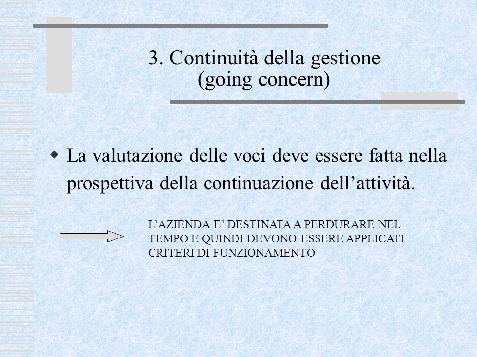 3. Continuità della gestione (going concern)  La valutazione delle voci deve essere fatta nella prospettiva della continuazione dell'attività. L'AZIE