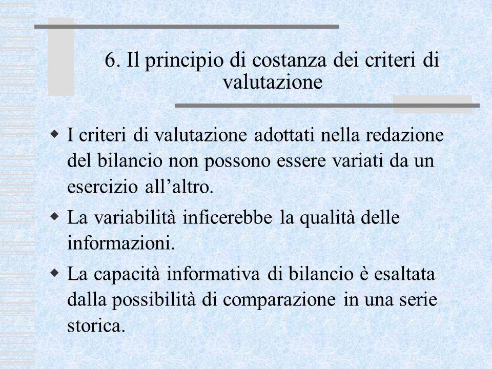 6. Il principio di costanza dei criteri di valutazione  I criteri di valutazione adottati nella redazione del bilancio non possono essere variati da
