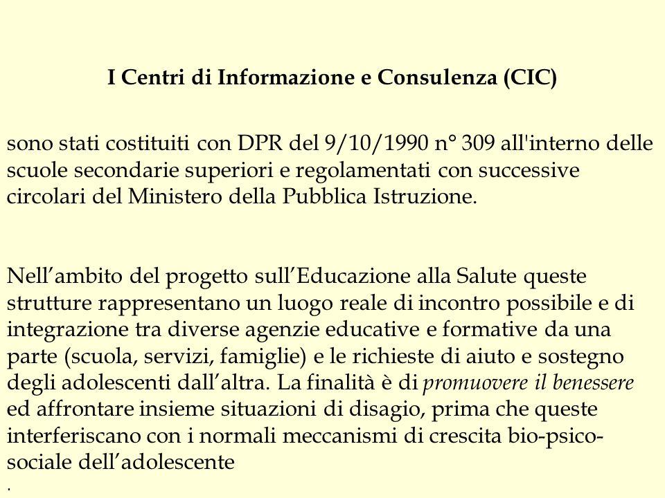 I Centri di Informazione e Consulenza (CIC) sono stati costituiti con DPR del 9/10/1990 n° 309 all'interno delle scuole secondarie superiori e regolam