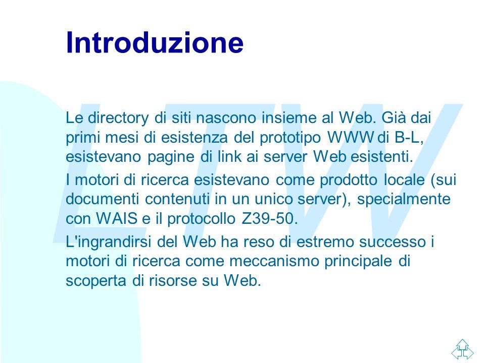 LTW Introduzione Le directory di siti nascono insieme al Web.