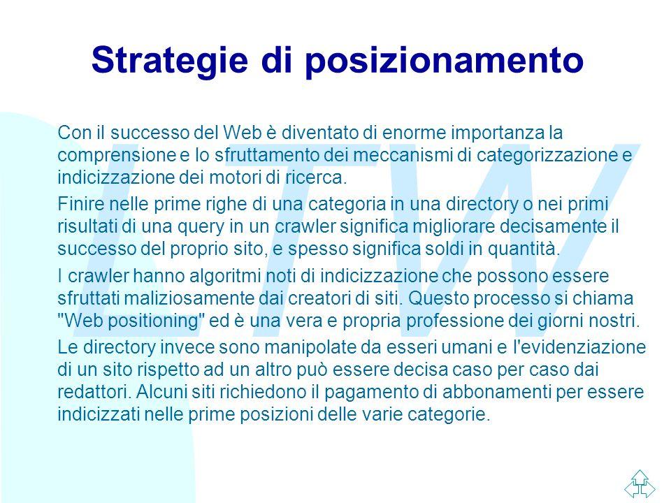 LTW Strategie di posizionamento Con il successo del Web è diventato di enorme importanza la comprensione e lo sfruttamento dei meccanismi di categorizzazione e indicizzazione dei motori di ricerca.