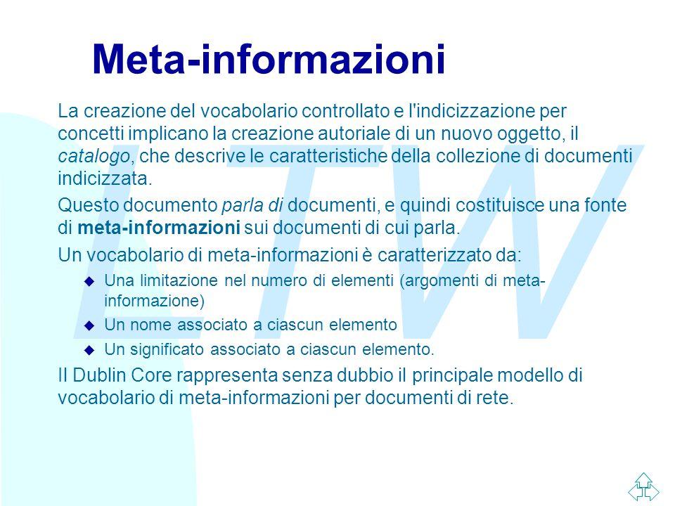 LTW Meta-informazioni La creazione del vocabolario controllato e l indicizzazione per concetti implicano la creazione autoriale di un nuovo oggetto, il catalogo, che descrive le caratteristiche della collezione di documenti indicizzata.