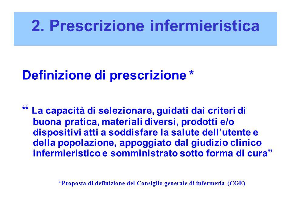 """2. Prescrizione infermieristica Definizione di prescrizione * """" La capacità di selezionare, guidati dai criteri di buona pratica, materiali diversi, p"""