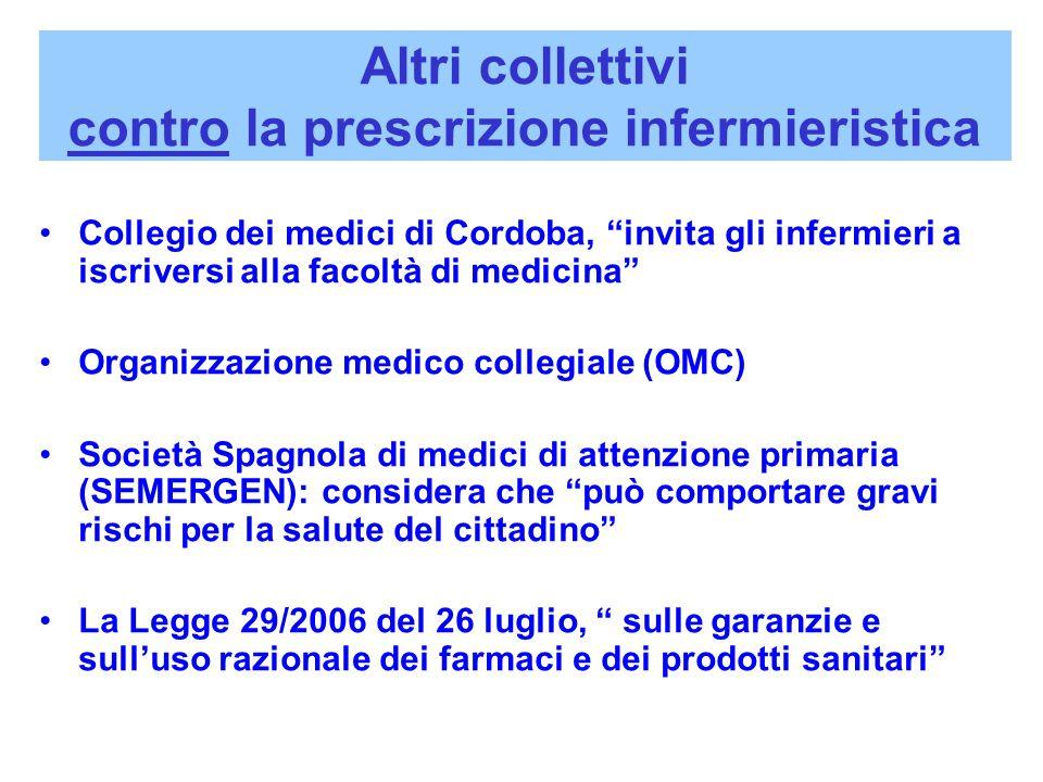"""Altri collettivi contro la prescrizione infermieristica Collegio dei medici di Cordoba, """"invita gli infermieri a iscriversi alla facoltà di medicina"""""""