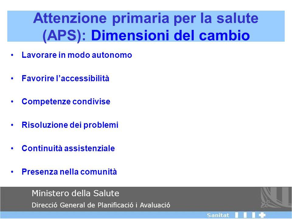 Attenzione primaria per la salute (APS): Dimensioni del cambio Ministero della Salute Direcció General de Planificació i Avaluació Lavorare in modo au