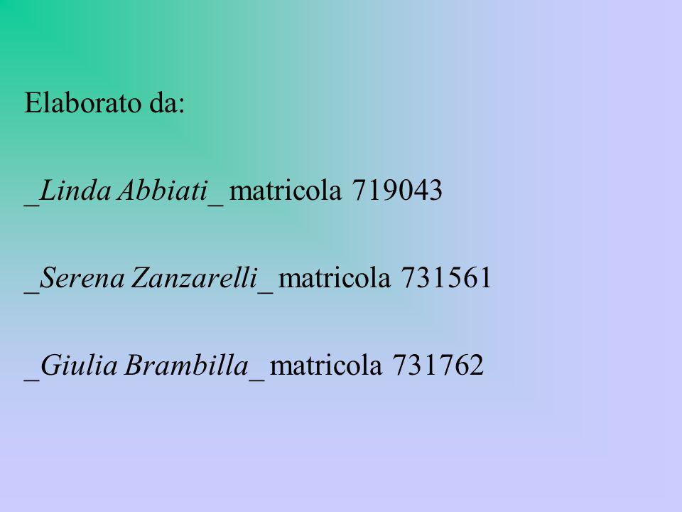 Elaborato da: _Linda Abbiati_ matricola 719043 _Serena Zanzarelli_ matricola 731561 _Giulia Brambilla_ matricola 731762
