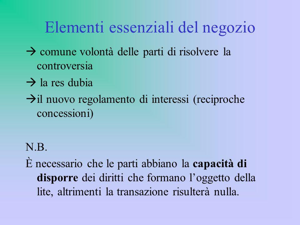 Elementi essenziali del negozio  comune volontà delle parti di risolvere la controversia  la res dubia  il nuovo regolamento di interessi (reciproche concessioni) N.B.