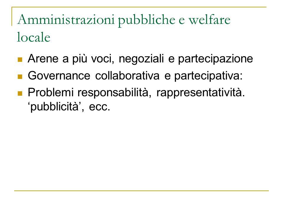 Amministrazioni pubbliche e welfare locale Arene a più voci, negoziali e partecipazione Governance collaborativa e partecipativa: Problemi responsabil