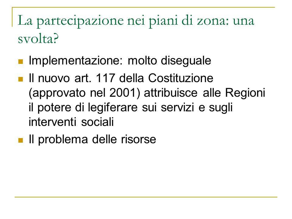 La partecipazione nei piani di zona: una svolta? Implementazione: molto diseguale Il nuovo art. 117 della Costituzione (approvato nel 2001) attribuisc