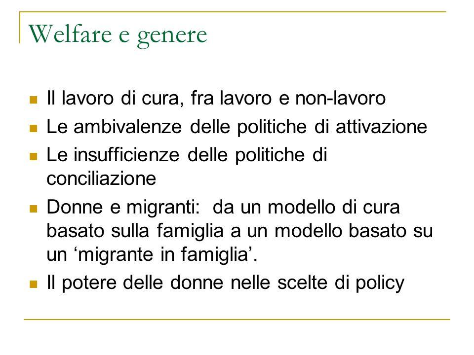 Welfare e genere Il lavoro di cura, fra lavoro e non-lavoro Le ambivalenze delle politiche di attivazione Le insufficienze delle politiche di concilia