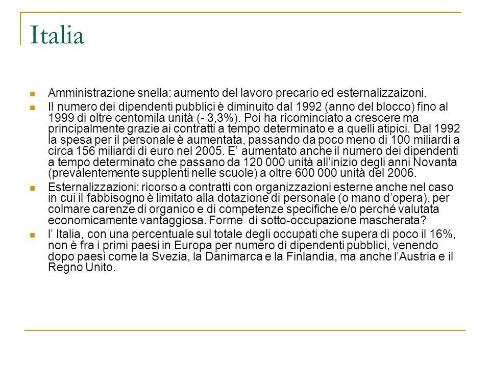 Italia Amministrazione snella: aumento del lavoro precario ed esternalizzaizoni. Il numero dei dipendenti pubblici è diminuito dal 1992 (anno del bloc