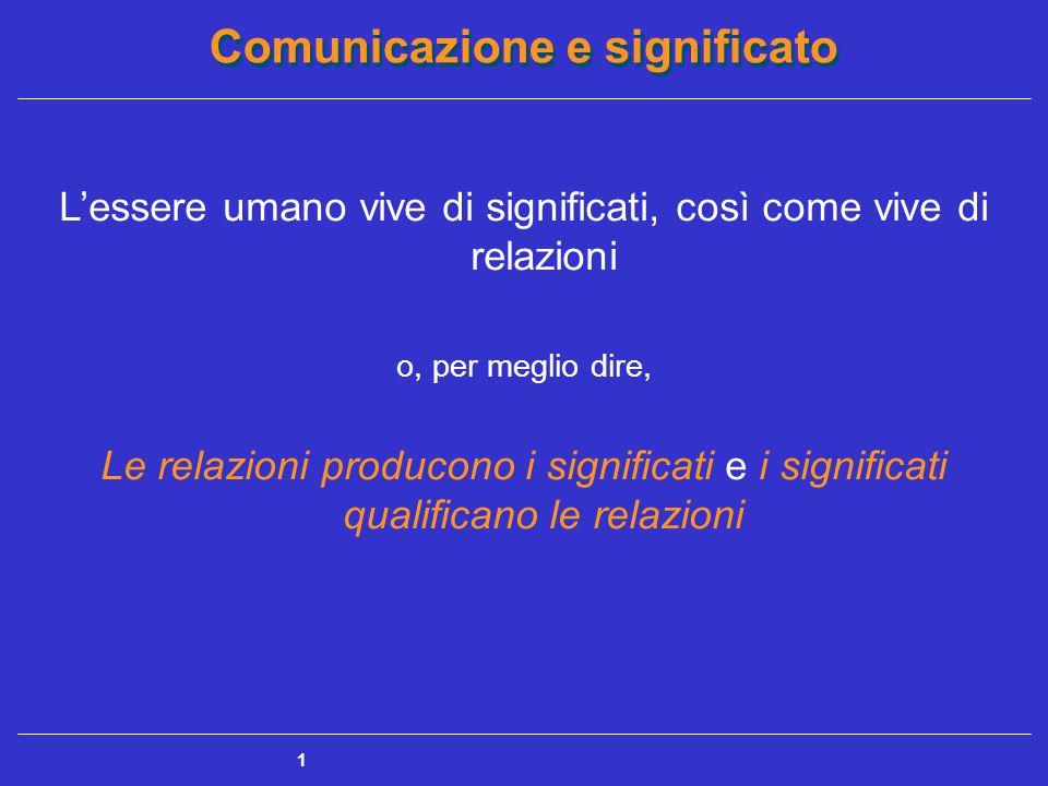 Comunicazione e significato 1 L'essere umano vive di significati, così come vive di relazioni o, per meglio dire, Le relazioni producono i significati e i significati qualificano le relazioni