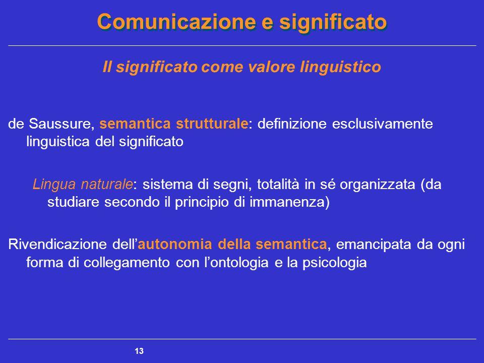 Comunicazione e significato 13 Il significato come valore linguistico de Saussure, semantica strutturale: definizione esclusivamente linguistica del significato Lingua naturale: sistema di segni, totalità in sé organizzata (da studiare secondo il principio di immanenza) Rivendicazione dell'autonomia della semantica, emancipata da ogni forma di collegamento con l'ontologia e la psicologia
