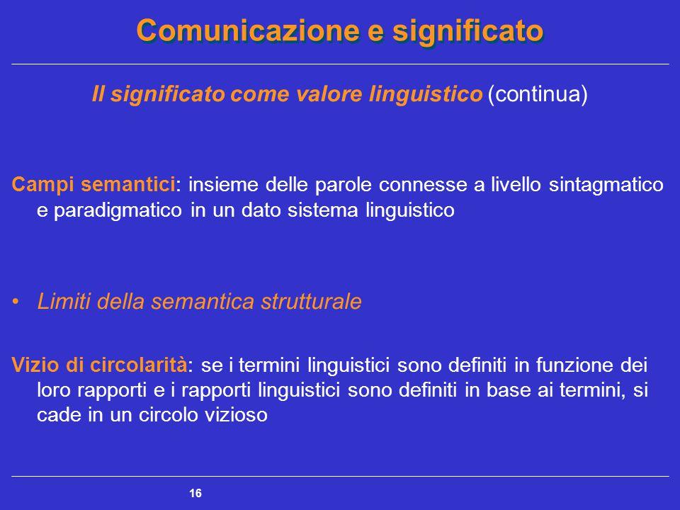 Comunicazione e significato 16 Il significato come valore linguistico (continua) Campi semantici: insieme delle parole connesse a livello sintagmatico e paradigmatico in un dato sistema linguistico Limiti della semantica strutturale Vizio di circolarità: se i termini linguistici sono definiti in funzione dei loro rapporti e i rapporti linguistici sono definiti in base ai termini, si cade in un circolo vizioso