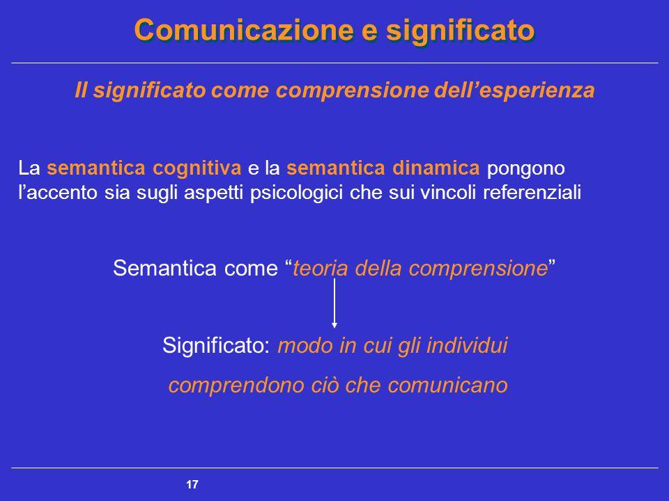 Comunicazione e significato 17 Il significato come comprensione dell'esperienza La semantica cognitiva e la semantica dinamica pongono l'accento sia sugli aspetti psicologici che sui vincoli referenziali Semantica come teoria della comprensione Significato: modo in cui gli individui comprendono ciò che comunicano