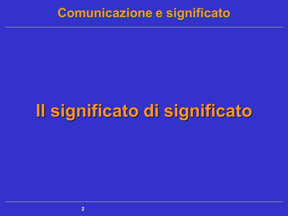 Comunicazione e significato 2 Il significato di significato