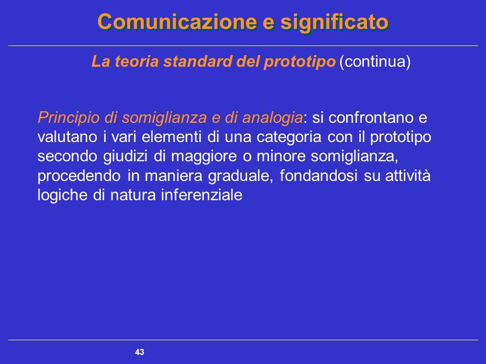 Comunicazione e significato 43 La teoria standard del prototipo (continua) Principio di somiglianza e di analogia: si confrontano e valutano i vari elementi di una categoria con il prototipo secondo giudizi di maggiore o minore somiglianza, procedendo in maniera graduale, fondandosi su attività logiche di natura inferenziale