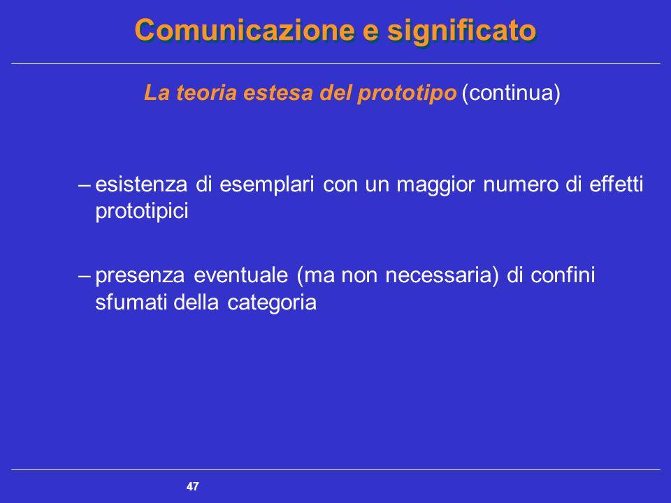 Comunicazione e significato 47 La teoria estesa del prototipo (continua) –esistenza di esemplari con un maggior numero di effetti prototipici –presenza eventuale (ma non necessaria) di confini sfumati della categoria