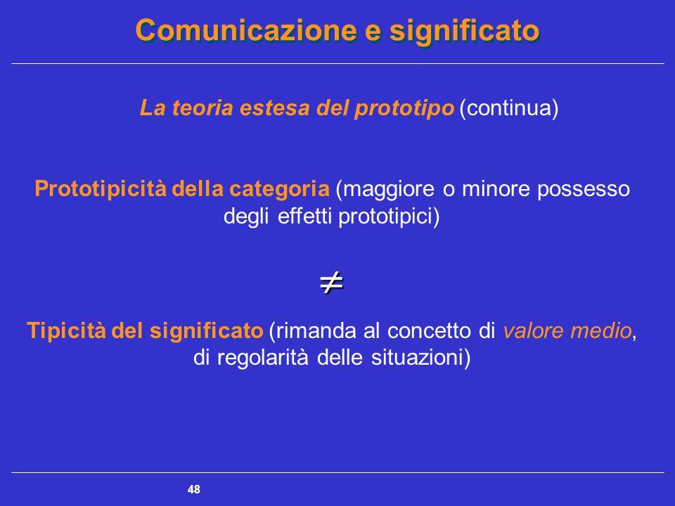 Comunicazione e significato 48 La teoria estesa del prototipo (continua) Prototipicità della categoria (maggiore o minore possesso degli effetti prototipici) Tipicità del significato (rimanda al concetto di valore medio, di regolarità delle situazioni)