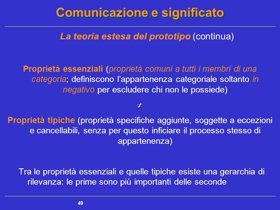 Comunicazione e significato 49 La teoria estesa del prototipo (continua) Proprietà essenziali (proprietà comuni a tutti i membri di una categoria; definiscono l'appartenenza categoriale soltanto in negativo per escludere chi non le possiede) Proprietà tipiche (proprietà specifiche aggiunte, soggette a eccezioni e cancellabili, senza per questo inficiare il processo stesso di appartenenza) Tra le proprietà essenziali e quelle tipiche esiste una gerarchia di rilevanza: le prime sono più importanti delle seconde