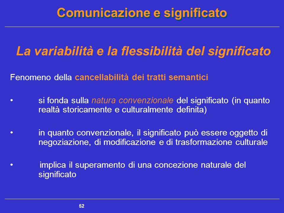 Comunicazione e significato 52 La variabilità e la flessibilità del significato Fenomeno della cancellabilità dei tratti semantici si fonda sulla natura convenzionale del significato (in quanto realtà storicamente e culturalmente definita) in quanto convenzionale, il significato può essere oggetto di negoziazione, di modificazione e di trasformazione culturale implica il superamento di una concezione naturale del significato