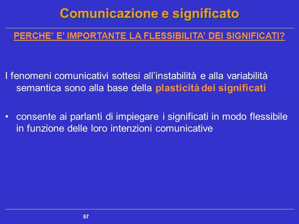 Comunicazione e significato 57 PERCHE' E' IMPORTANTE LA FLESSIBILITA' DEI SIGNIFICATI.