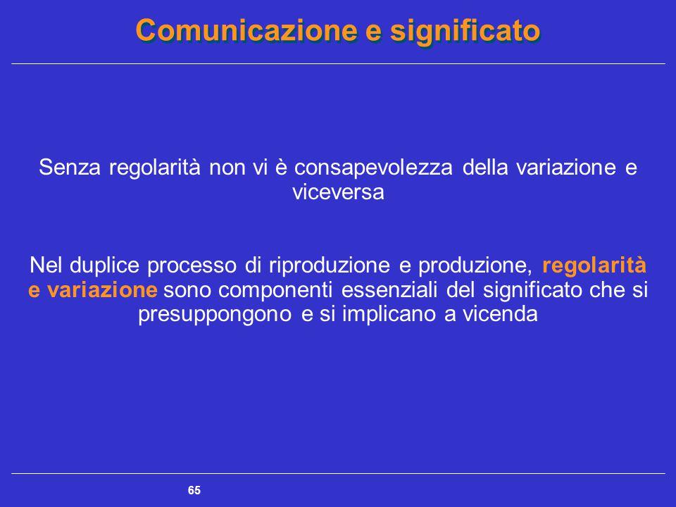 Comunicazione e significato 65 Senza regolarità non vi è consapevolezza della variazione e viceversa Nel duplice processo di riproduzione e produzione, regolarità e variazione sono componenti essenziali del significato che si presuppongono e si implicano a vicenda