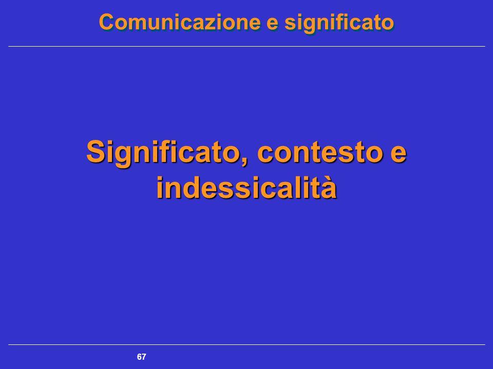 Comunicazione e significato 67 Significato, contesto e indessicalità