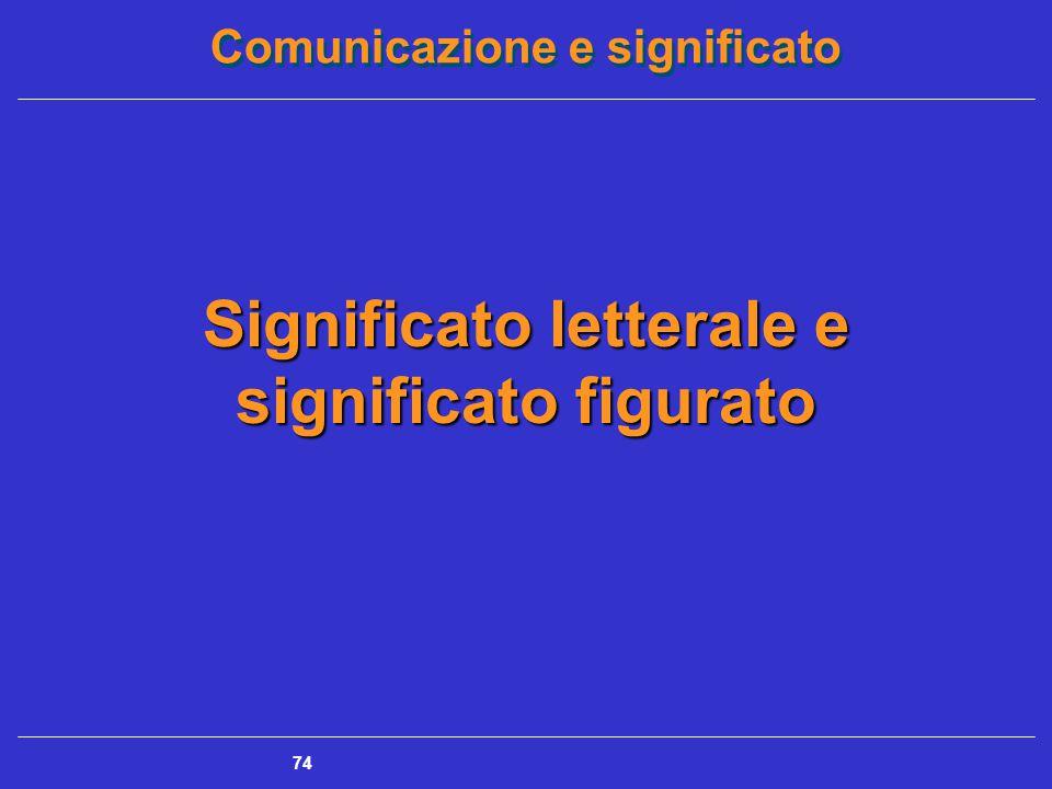 Comunicazione e significato 74 Significato letterale e significato figurato