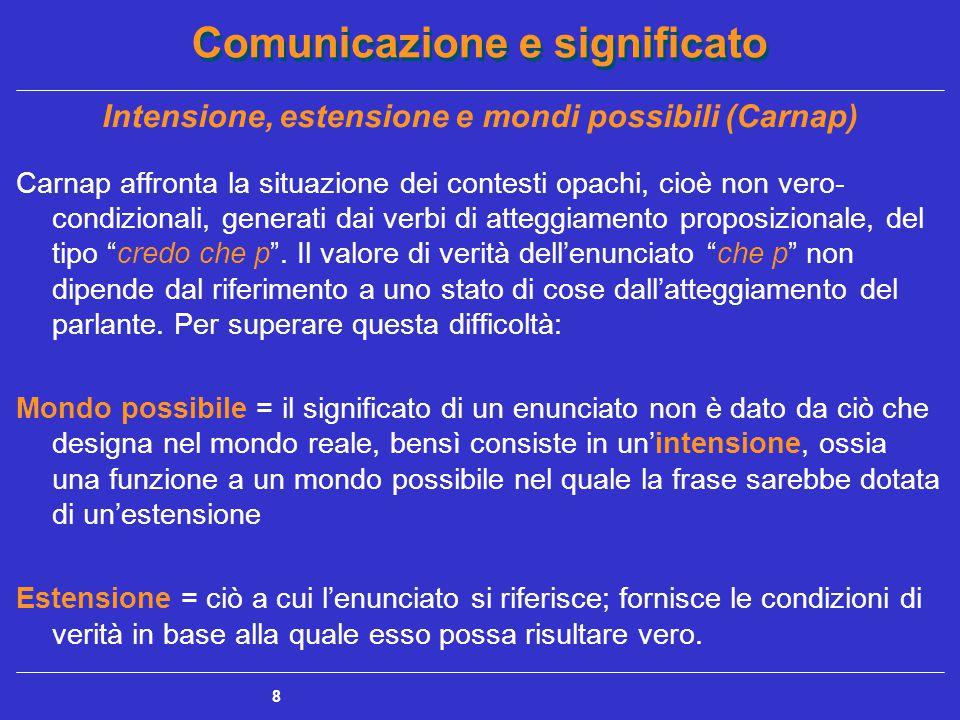 Comunicazione e significato 8 Intensione, estensione e mondi possibili (Carnap) Carnap affronta la situazione dei contesti opachi, cioè non vero- condizionali, generati dai verbi di atteggiamento proposizionale, del tipo credo che p .