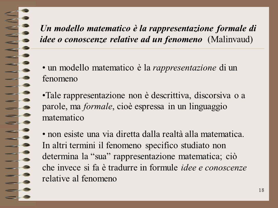 18 Un modello matematico è la rappresentazione formale di idee o conoscenze relative ad un fenomeno (Malinvaud) un modello matematico è la rappresenta