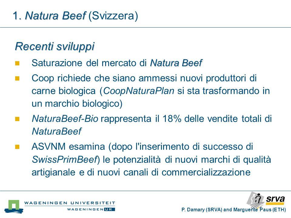 Recenti sviluppi Natura Beef Saturazione del mercato di Natura Beef Coop richiede che siano ammessi nuovi produttori di carne biologica (CoopNaturaPlan si sta trasformando in un marchio biologico) NaturaBeef-Bio rappresenta il 18% delle vendite totali di NaturaBeef ASVNM esamina (dopo l inserimento di successo di SwissPrimBeef) le potenzialità di nuovi marchi di qualità artigianale e di nuovi canali di commercializzazione P.