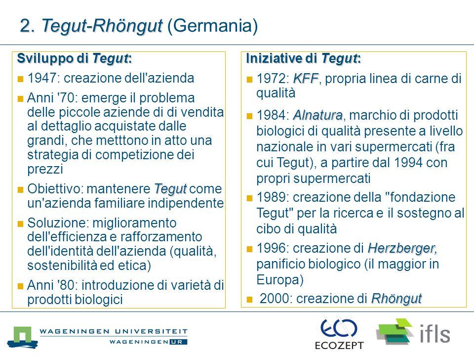 Sviluppo di Tegut: 1947: creazione dell'azienda Anni '70: emerge il problema delle piccole aziende di di vendita al dettaglio acquistate dalle grandi,