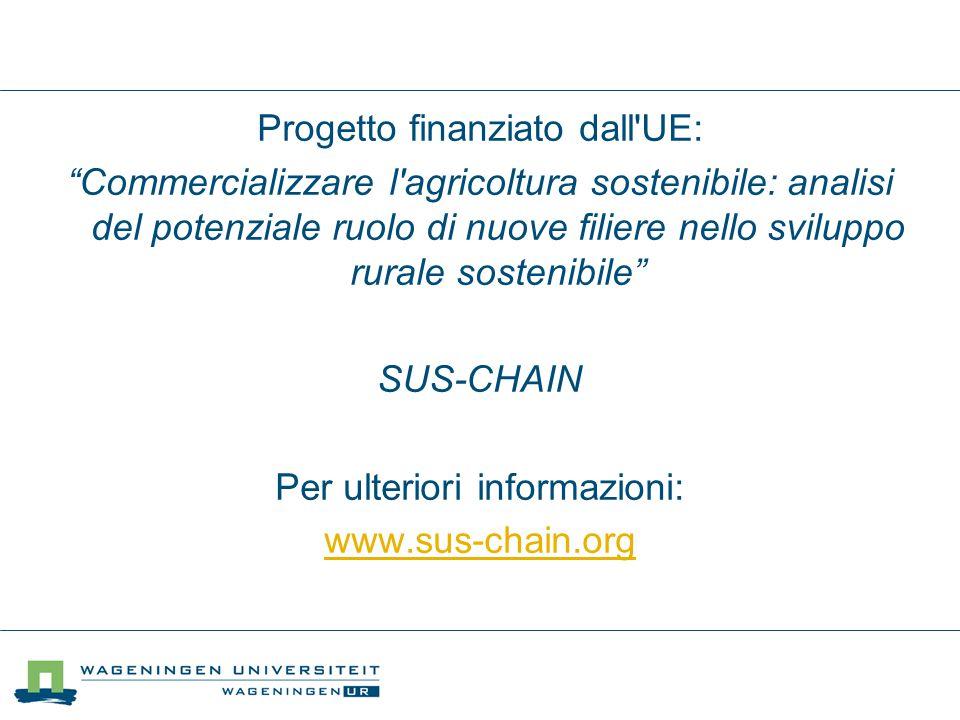 Progetto finanziato dall UE: Commercializzare l agricoltura sostenibile: analisi del potenziale ruolo di nuove filiere nello sviluppo rurale sostenibile SUS-CHAIN Per ulteriori informazioni: www.sus-chain.org