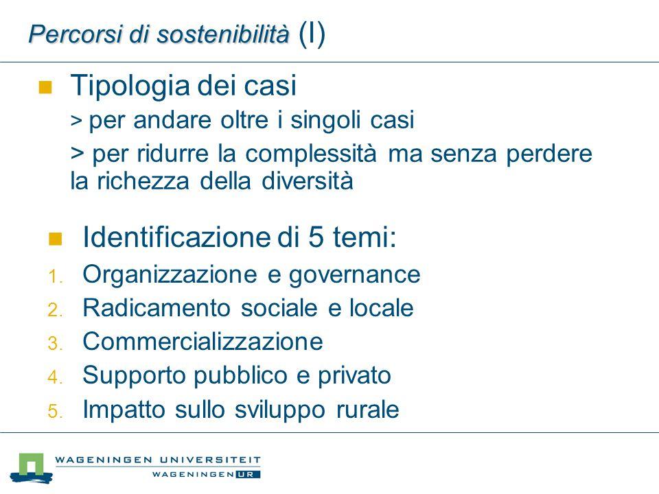 Percorsi di sostenibilità Percorsi di sostenibilità (I) Tipologia dei casi > per andare oltre i singoli casi > per ridurre la complessità ma senza per