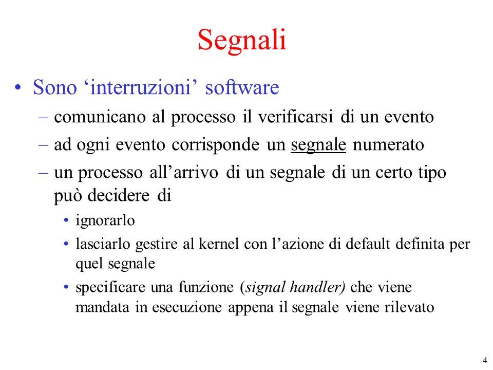 4 Segnali Sono 'interruzioni' software –comunicano al processo il verificarsi di un evento –ad ogni evento corrisponde un segnale numerato –un process