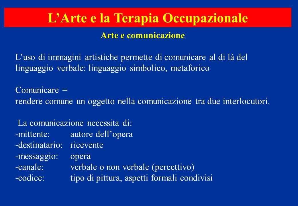 L'uso di immagini artistiche permette di comunicare al di là del linguaggio verbale: linguaggio simbolico, metaforico Comunicare = rendere comune un o