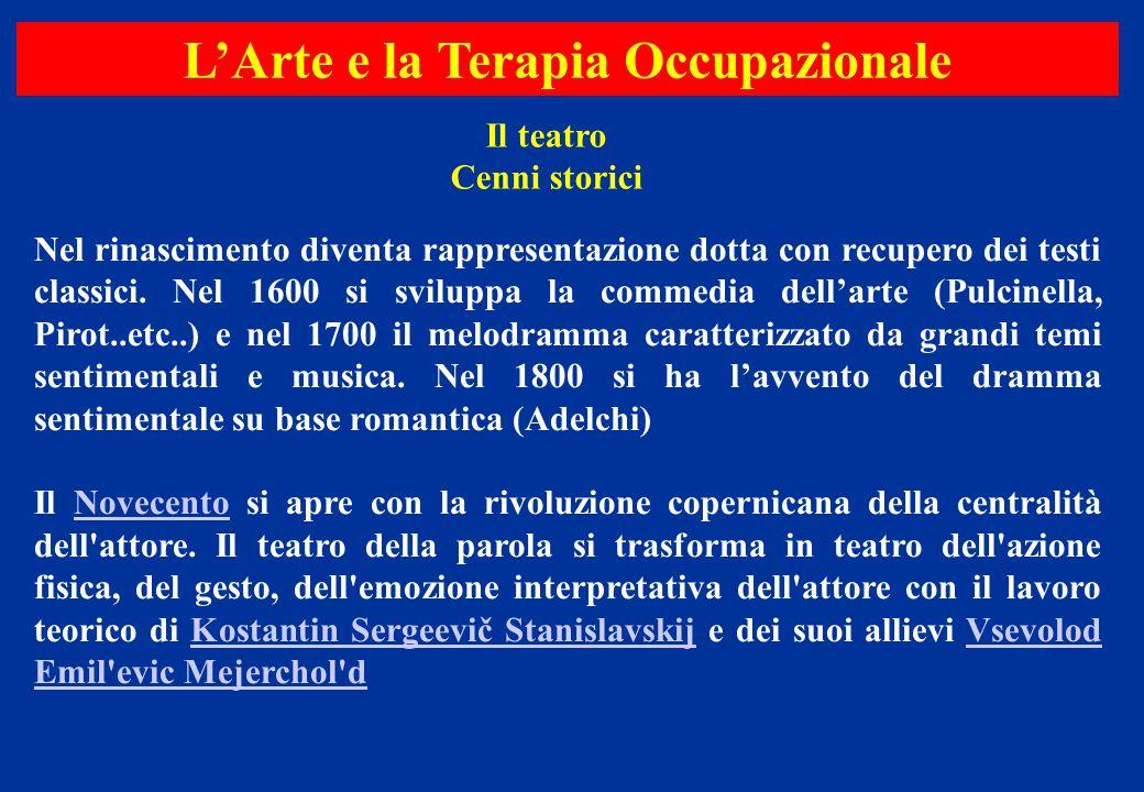 Il teatro Cenni storici Nel rinascimento diventa rappresentazione dotta con recupero dei testi classici. Nel 1600 si sviluppa la commedia dell'arte (P